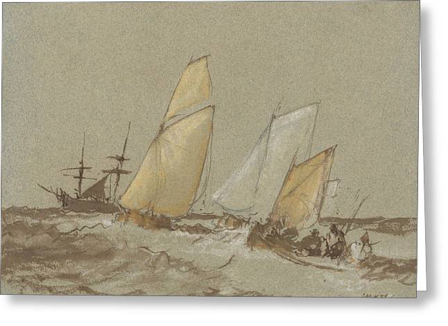 Shipping Greeting Card by Joseph Mallord William Turner