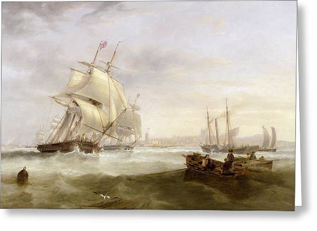 Shipping off Hartlepool Greeting Card by John Wilson Carmichael