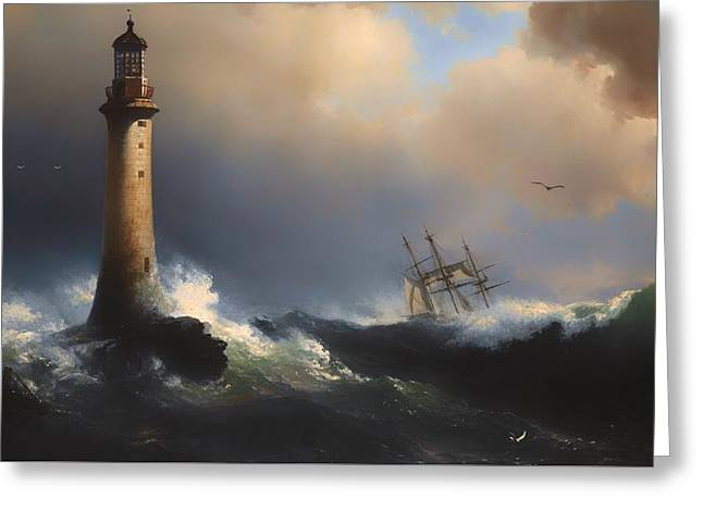 Storm. Rain. Oil On Canvas Greeting Cards - Shipping Off The Eddystone Lighthouse Greeting Card by Vilhelm Melbye