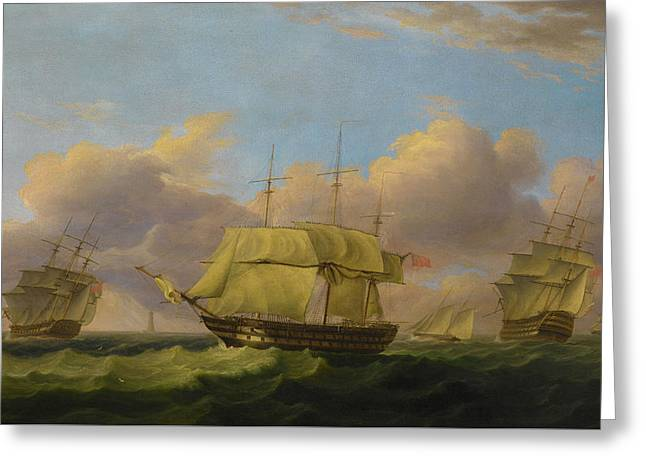 Shipping Off The Eddystone Greeting Card by Thomas Luny