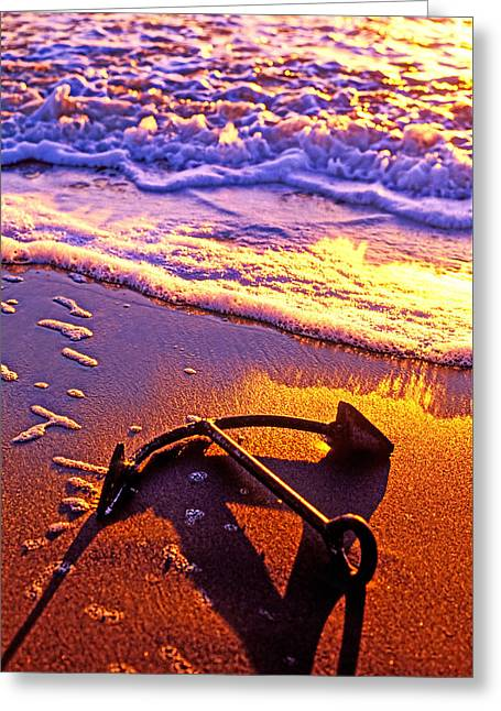 Foam Greeting Cards - Ships anchor on beach Greeting Card by Garry Gay
