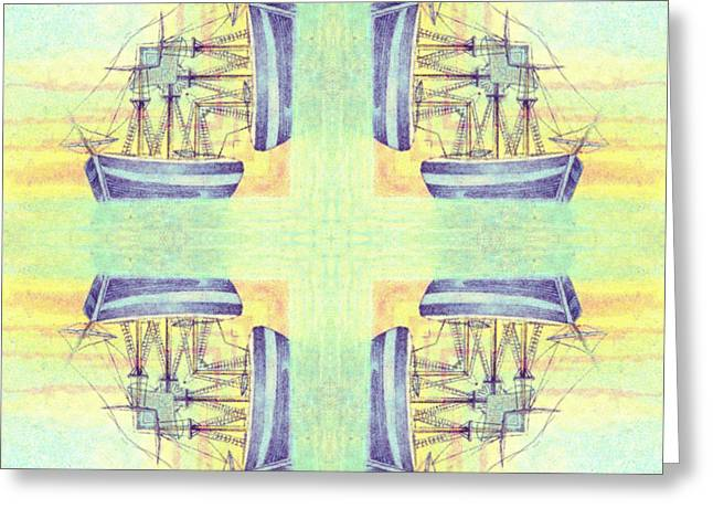 Yellow Sailboats Drawings Greeting Cards - Ships at Sea 5 Greeting Card by Anne Kitzman