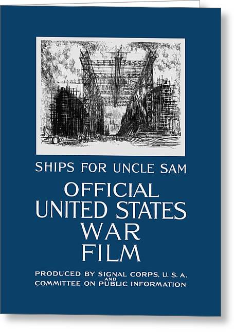Wwi Greeting Cards - Ships For Uncle Sam - WW1 Greeting Card by War Is Hell Store