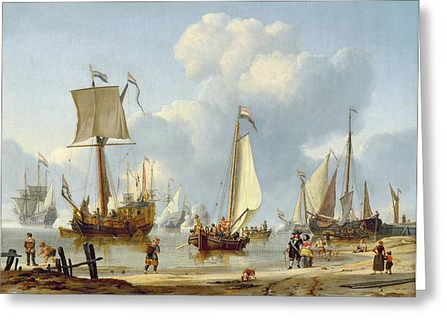 Calm Waters Paintings Greeting Cards - Ships in Calm Water with Figures by the Shore Greeting Card by Abraham Storck