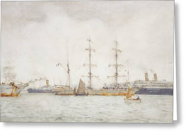 Ships In Harbor Greeting Card by Henry Scott Tuke