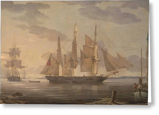 Ships In Harbor Greeting Card by Robert Salmon