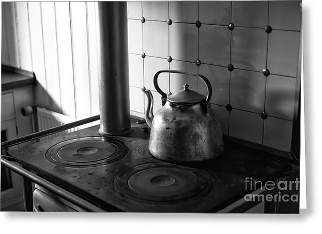 Old Stove Greeting Cards - Ships Kettle mono Greeting Card by John Rizzuto
