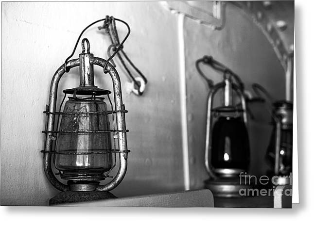 Old Ship Art Greeting Cards - Ships Lantern mono Greeting Card by John Rizzuto