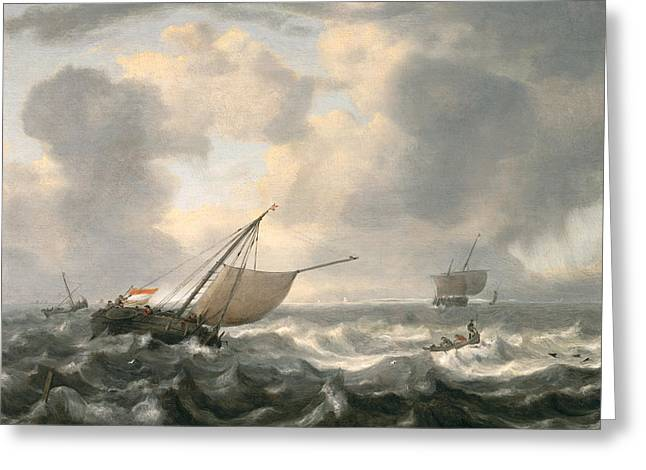 Best Sellers -  - Sun Breaking Through Clouds Greeting Cards - Ships on a Choppy Sea Greeting Card by Hendrik van Anthonissen