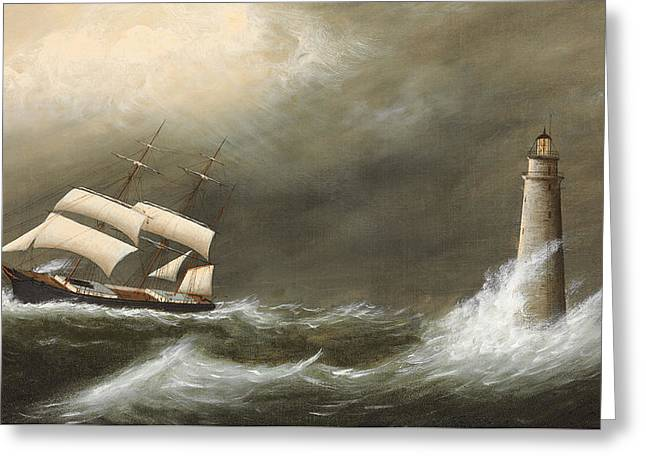 Inclement Greeting Cards - Ships Passing Minots Light Greeting Card by Clement Drew