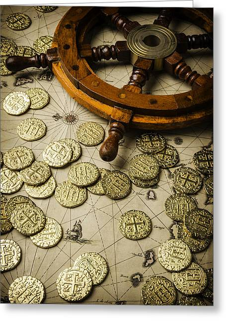 Wooden Ship Photographs Greeting Cards - Ships Wheel And Gold Coins Greeting Card by Garry Gay