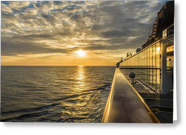 Norwegian Sunset Greeting Cards - Shipside Sunset Greeting Card by Bill Tiepelman
