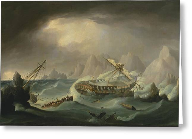 War Ship Greeting Cards - Shipwreck Off A Rocky Coast Greeting Card by War Is Hell Store