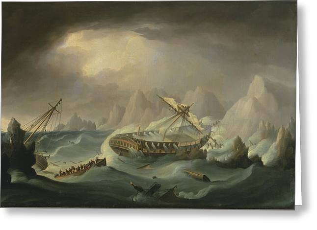 Sailing Ship Greeting Cards - Shipwreck Off A Rocky Coast Greeting Card by War Is Hell Store