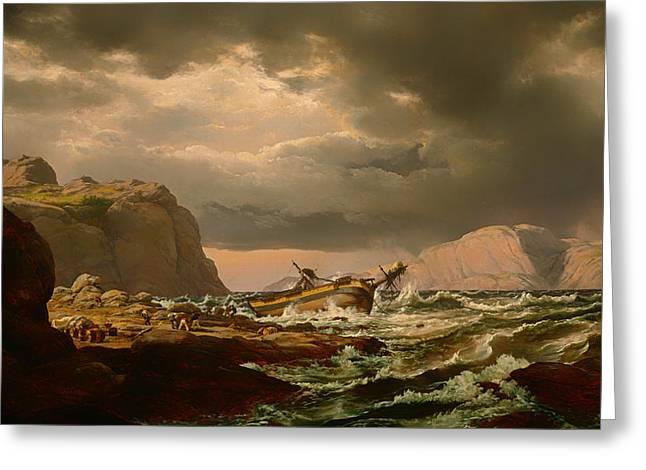 Norwegian Coast Greeting Cards - Shipwreck on Norwegian Coast Greeting Card by Johan Christian Dahl