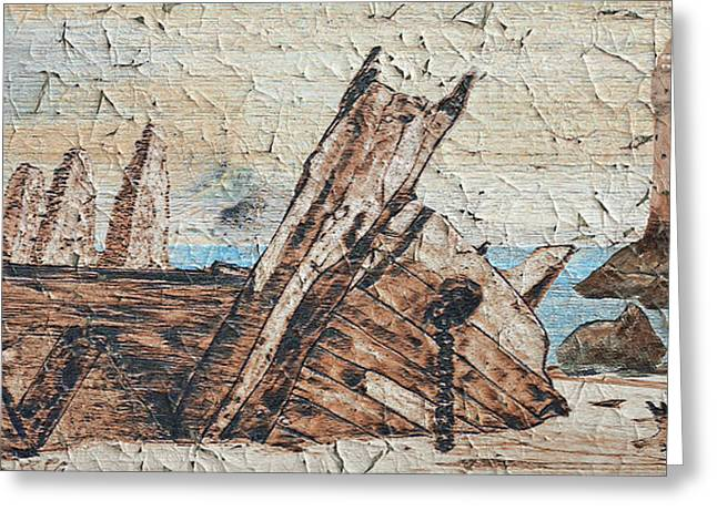 Shipwreck Peeling Paint Greeting Card by Ken Figurski