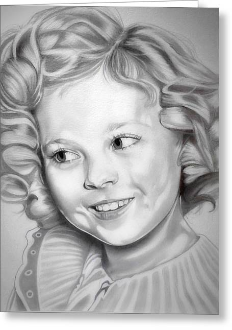 Black Top Drawings Greeting Cards - Shirley Temple Greeting Card by Fred Larucci