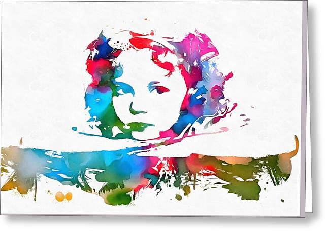 Shirley Temple Watercolor Paint Splatter Greeting Card by Dan Sproul
