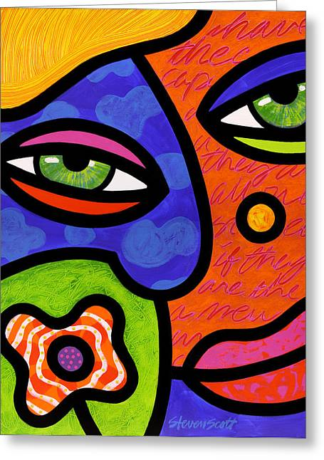 Abstract Faces Greeting Cards - Shirley Whirly-Gig Greeting Card by Steven Scott