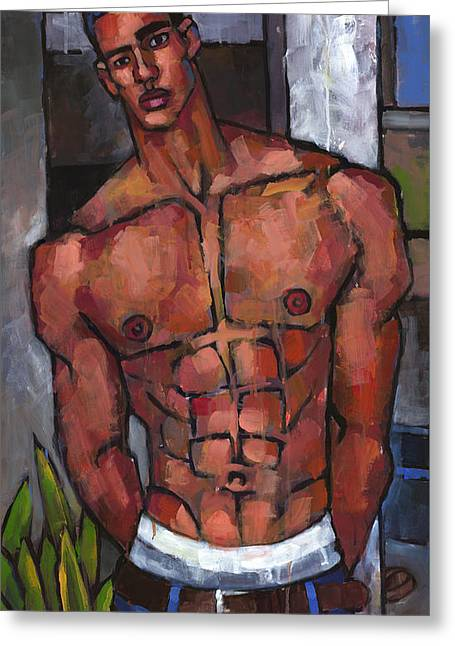 Expressionist Greeting Cards - Shirtless Backyard Greeting Card by Douglas Simonson