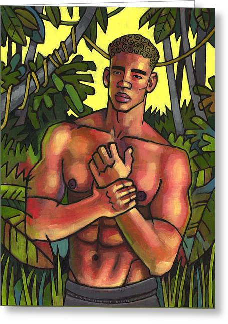 African-american Paintings Greeting Cards - Shirtless in the Jungle Greeting Card by Douglas Simonson