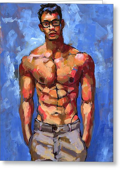 Pants Greeting Cards - Shirtless with Glasses Greeting Card by Douglas Simonson