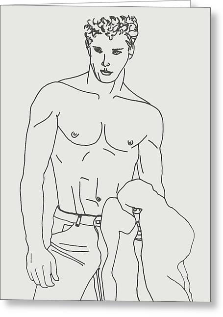 Rocks Drawings Greeting Cards - Shirtless Young Male Greeting Card by Sheri Parris