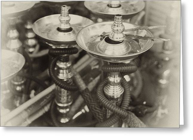 Bubbly Greeting Cards - Shisha pipes in Qatar retro Greeting Card by Paul Cowan