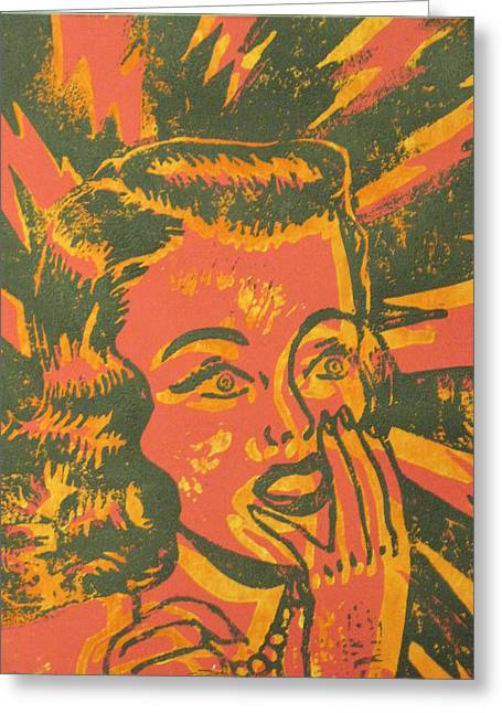 Linoleum Block Print Mixed Media Greeting Cards - Shocked Black and Yellow on Red Greeting Card by Andrew Wales