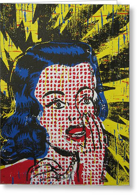 Linoleum Block Print Mixed Media Greeting Cards - Shocked in Four Colors Greeting Card by Andrew Wales