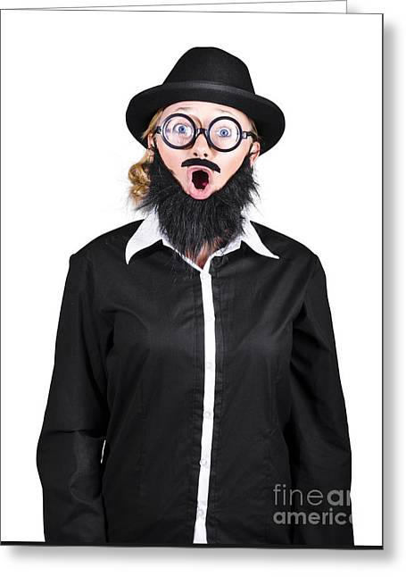 Shocked Mad Professor Woman Dressed As Man Greeting Card by Jorgo Photography - Wall Art Gallery