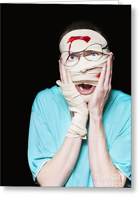 Shocked Patient Nursing A Broken And Bloody Head Greeting Card by Jorgo Photography - Wall Art Gallery