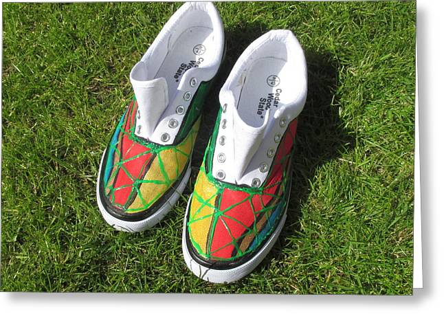 Shoe Tapestries - Textiles Greeting Cards -  Canvas Shoe Art 001a Greeting Card by Mudiama Kammoh