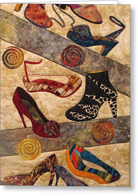 Shoe Tapestries - Textiles Greeting Cards - Shoe Crazy Greeting Card by Lynda K Boardman