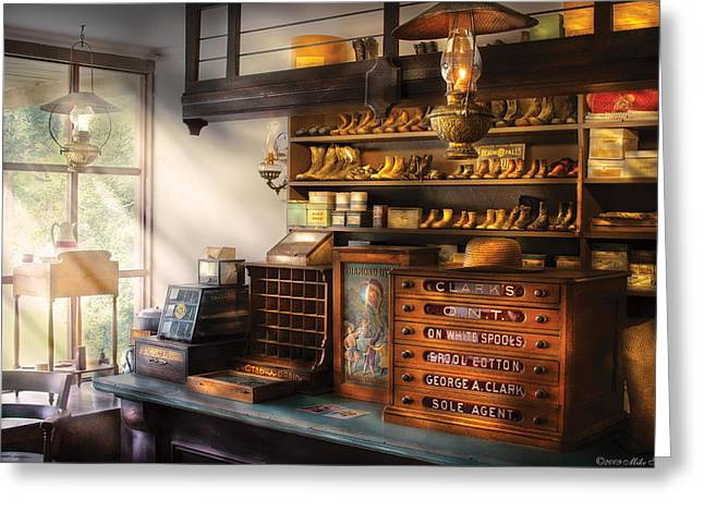 Shoe Maker - Shoes For Sale Greeting Card by Mike Savad