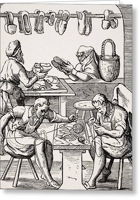 Footgear Greeting Cards - Shoemaker. 19th Century Reproduction Of Greeting Card by Ken Welsh
