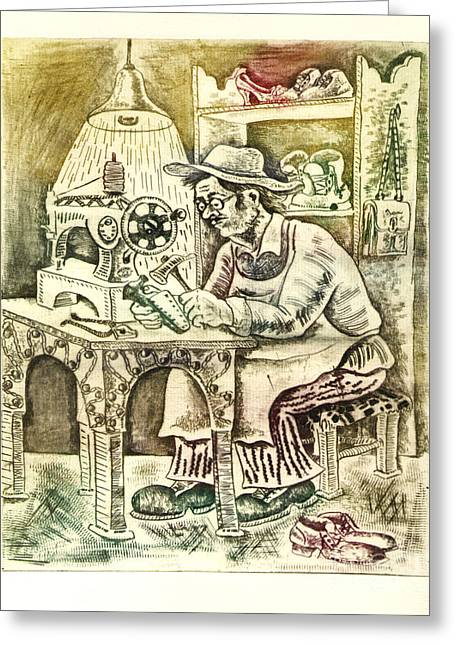 Drypoint Greeting Cards - Shoemaker Greeting Card by Milen Litchkov