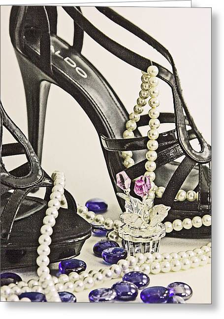 Shoes And Pearls Greeting Card by Jim Justinick