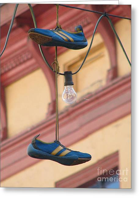 Adidas Greeting Cards - Shoes hanging Greeting Card by Jeff White