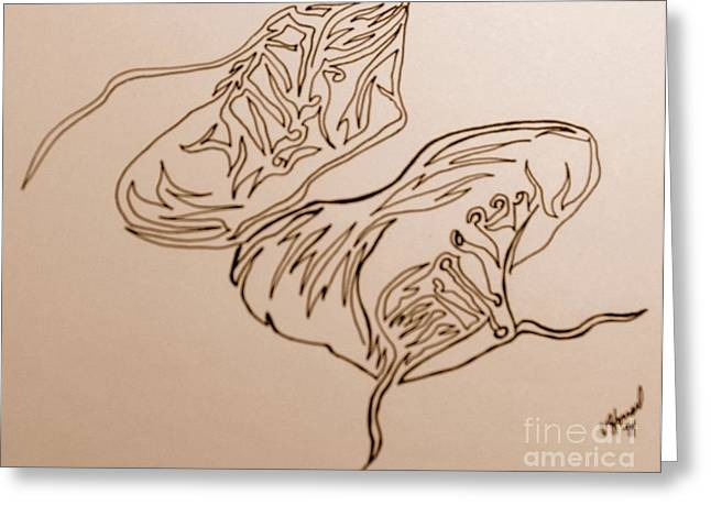 Shoe String Greeting Cards - Shoes in One Line  Greeting Card by Vicki  Housel
