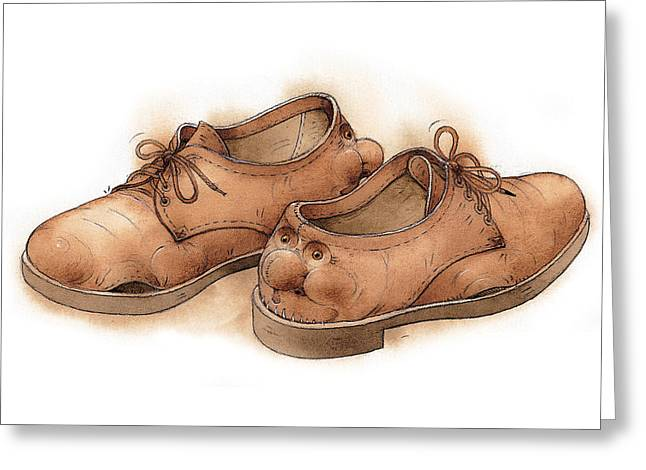 Relaxed. Drawings Greeting Cards - Shoes02 Greeting Card by Kestutis Kasparavicius