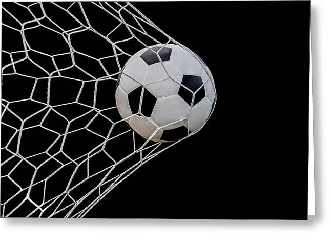 Seasons.net Greeting Cards - Shoot soccer ball in goal Greeting Card by Anek Suwannaphoom