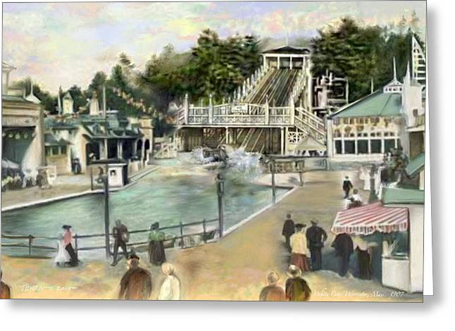 Amusements Greeting Cards - Shoot the Chutes.1907 White City   Greeting Card by Mark Tonelli