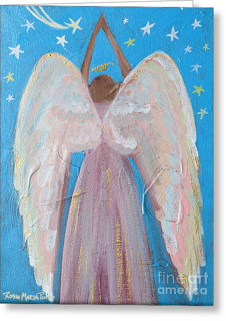 Night Angel Greeting Cards - Shooting Star Angel Greeting Card by Robin Maria  Pedrero