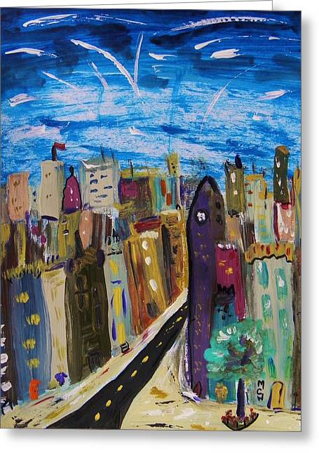 Shooting Stars Over Old City Greeting Card by Mary Carol Williams