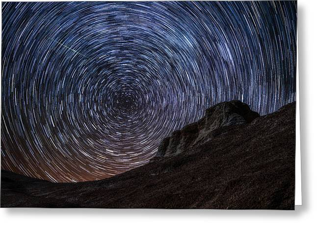 Stars Trail Greeting Cards - Shooting the Mines Greeting Card by Darren  White
