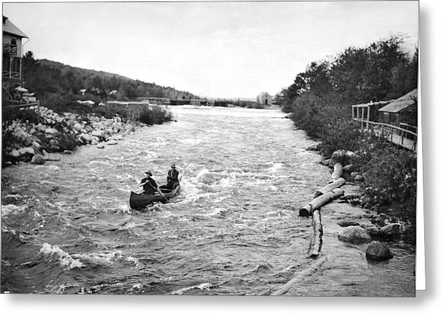 Shooting The Rapids In Maine Greeting Card by Underwood Archives