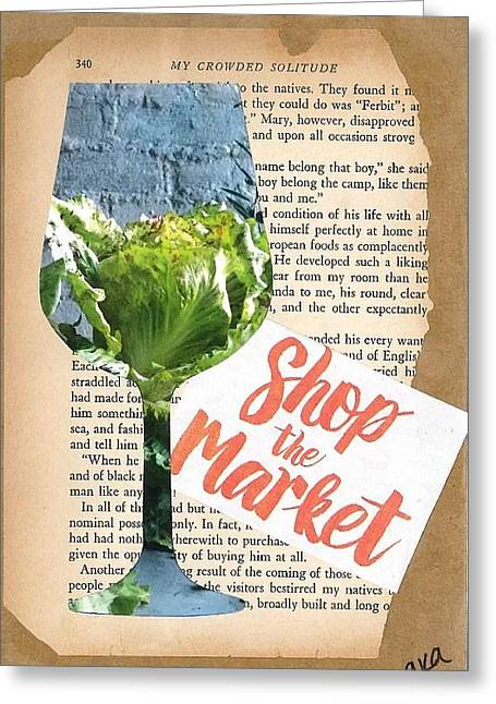 Vintage Wine Lovers Mixed Media Greeting Cards - Shop the Market Greeting Card by Alyson Appleton