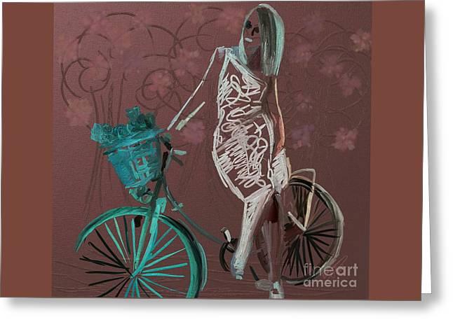 Shopper On Weels #0159 Greeting Card by Urszula Zogman