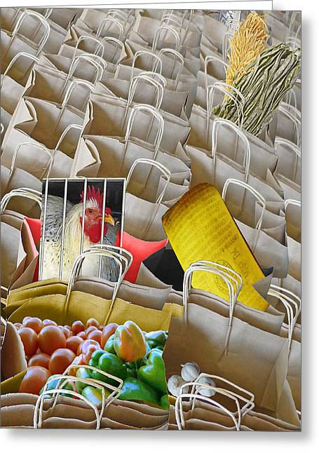 Get Your Shopping Bags Here Greeting Card by Carl Bistrack